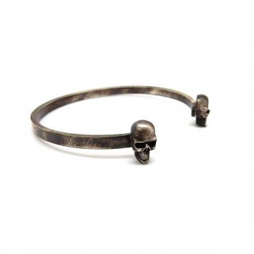 Bangle silver double têtes de mort