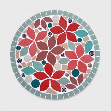 Table mat Floral Rouge fond rose