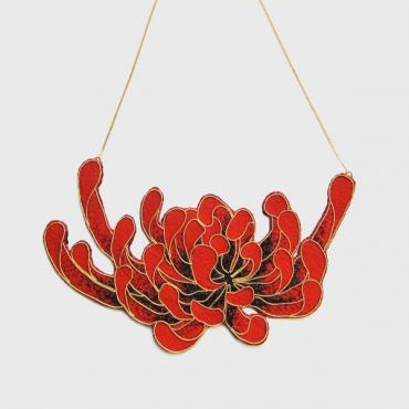 Plastron necklace chrysanthèmes rouge