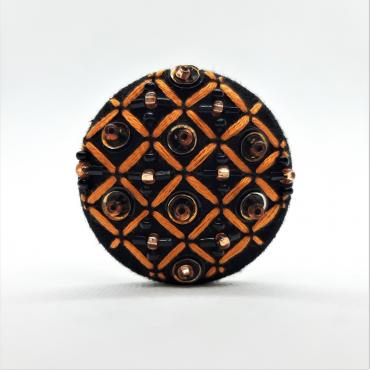 Broche aimantée Grille Orange