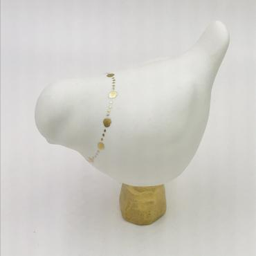 Oiseau porcelaine et Or - Motif collier