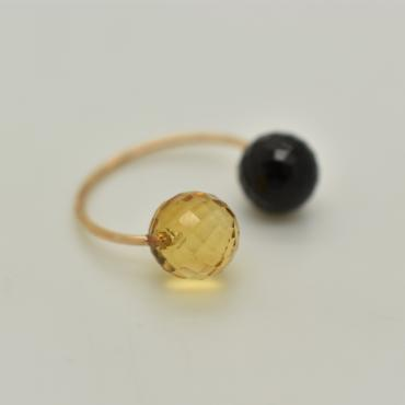 Ring Toi&Moi onyx and citrine