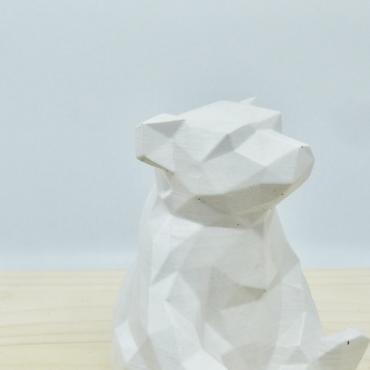 Decorative Bear in white concrete