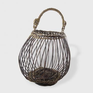 Openwork Basket Bombance in green and black raw wicker