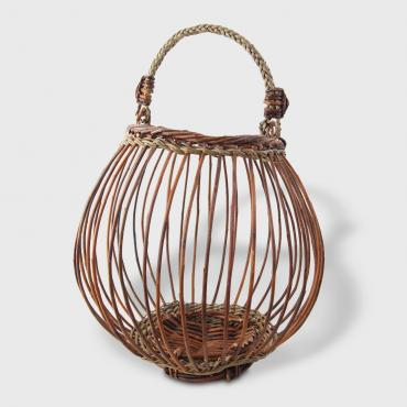 Openwork Basket Bombance in green and brown raw wicker