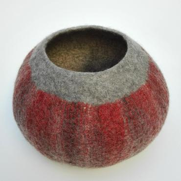 Pot-basket in felt Red XXL