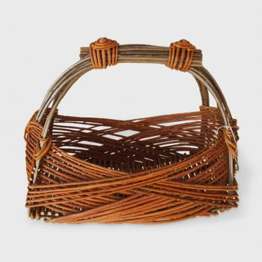 Basket Zarzo rectangular bicolore in raw wicker