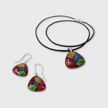Set of jewels in enamel Les Graphiques, red, blue, green, yellow