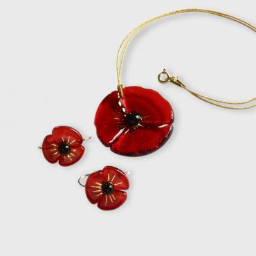 Set of jewels COQUELICOT bright-red