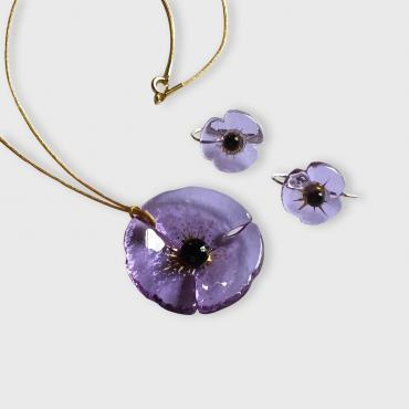 Set of jewels COQUELICOT lavender