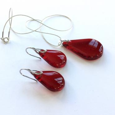 Set of jewels GOUTTE bright red
