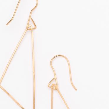 Earrings triangles silver-gilt