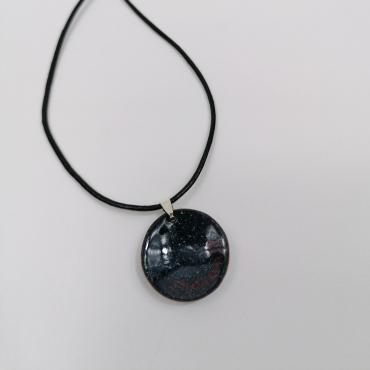 Pendant in enamel on copper Pop Art Blue