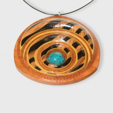 Pendant in plum tree, olivewood, ebony, difou and Chinese turquoise