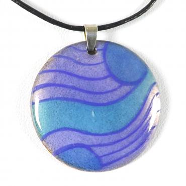 Pendant in enamel on copper Graphique Blue