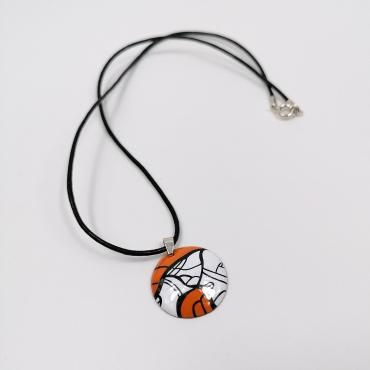Pendant in enamel on copper Pop Art, Orange
