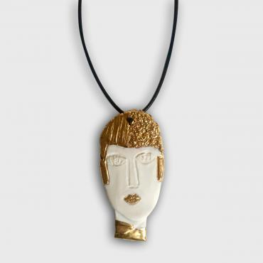 Pendant Portrait Sculpture White and Gold 2