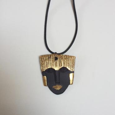Necklace Portrait Sculpture Black and Gold 2 pendant