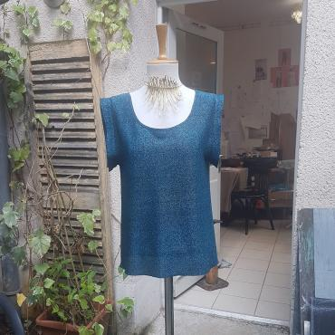 T-shirt bleu lurex