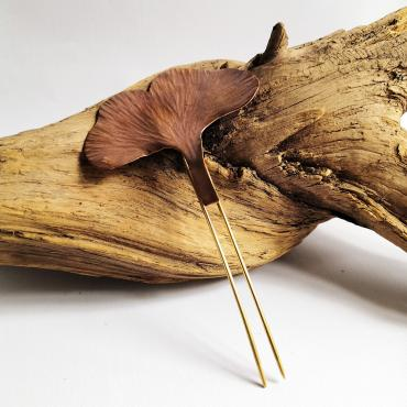 Bun pin Ginkgo Biloba in copper