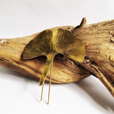 Bun pin Ginkgo Biloba in silver-gilt