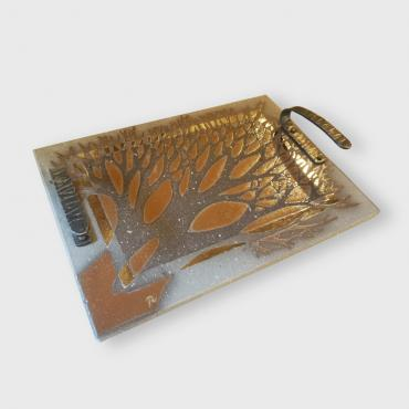 Enamelled lava cheese tray rectangulaire branche