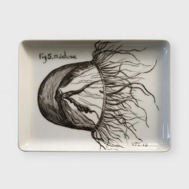 Porcelaine murale/Square Wall plate MEDUSE