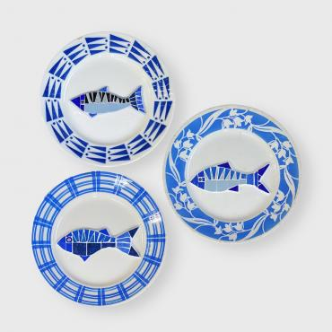 Set of plates Poiscaille Ensemble Bleu