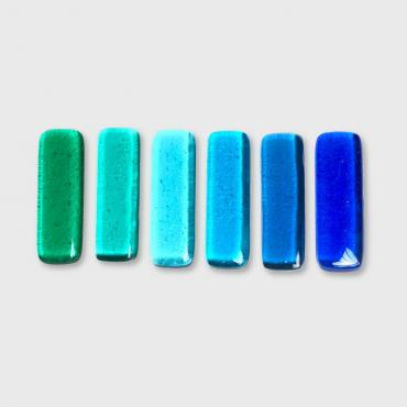 Set of 6 knife rests barrettes Blue-green