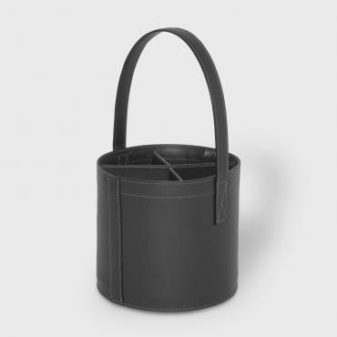 Bottle holder MIDI-BAR Quatro black leather
