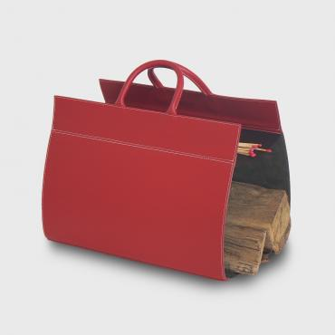 Log holder in leather Rouge