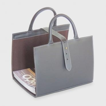 Leather magazine rack grey