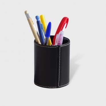 Pencil holder gainé cuir Noir