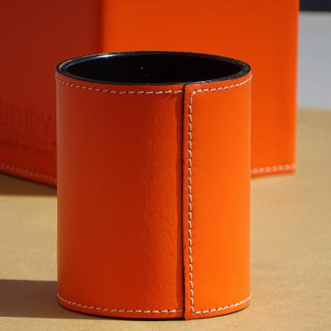Pencil holder gainé cuir Orange