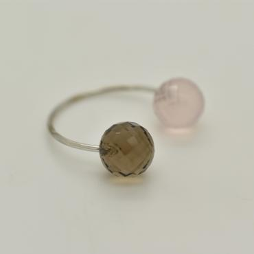 Ring Toi&Moi tinted quartz and pink quartz