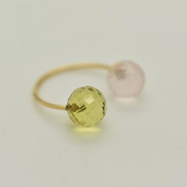 Bague Toi&Moi quartz rose et quartz lemon
