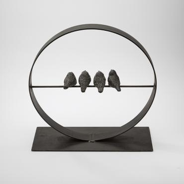 Sculpture with birds