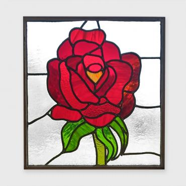 Stainned-glass window Rose rouge