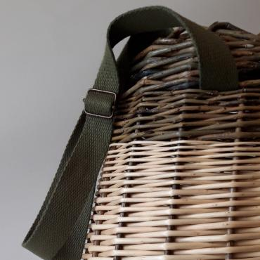 Wicker Handbag/Backpack with khaki supple and adjustable cotton handles