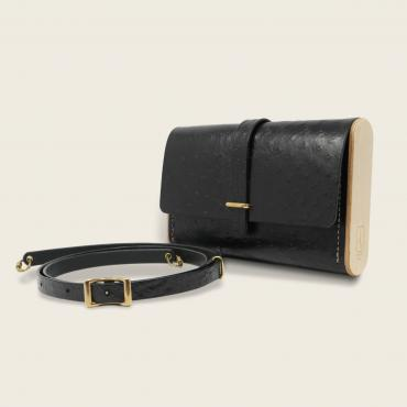 Cross-body bag, noir autruche, Le Strict Minimum 2.0