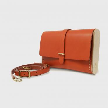 Sac pochette bandoulière, orange, Le Strict Minimum 2.0