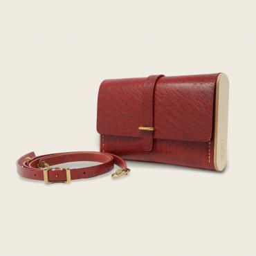Cross-body bag rouge autruche Le Strict Minimum 2.0