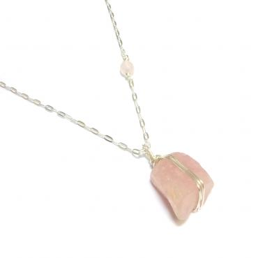 Sautoir Quartz Rose Brut