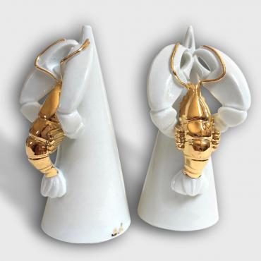 Sald and pepper mill lobster in porcelain and gold