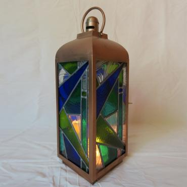Lantern Art Déco blue green