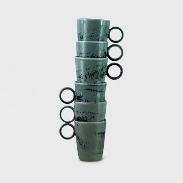 Set of 6 celadon coffee cups