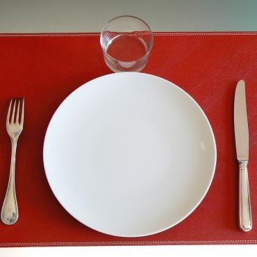 Set de table en cuir UNO rouge