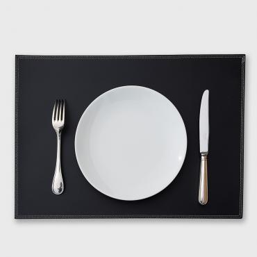 Set de table en cuir UNO noir