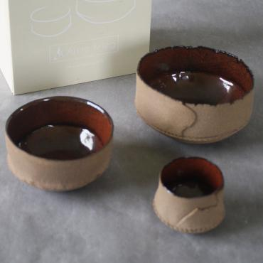 Set of  3 Bowls + Box peuplier sérigraphiée