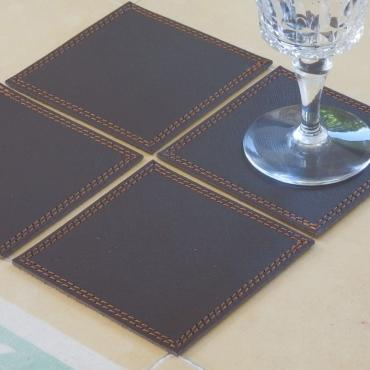 Drinks coaster in chocolate leather